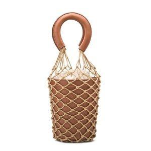 Melie Bianco Abby Saddle Net Bucket Bag